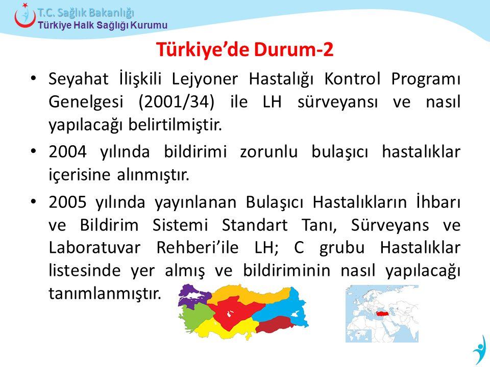 Türkiye Halk Sağlığı Kurumu T.C. Sağlık Bakanlığı Türkiye'de Durum-2 Seyahat İlişkili Lejyoner Hastalığı Kontrol Programı Genelgesi (2001/34) ile LH s