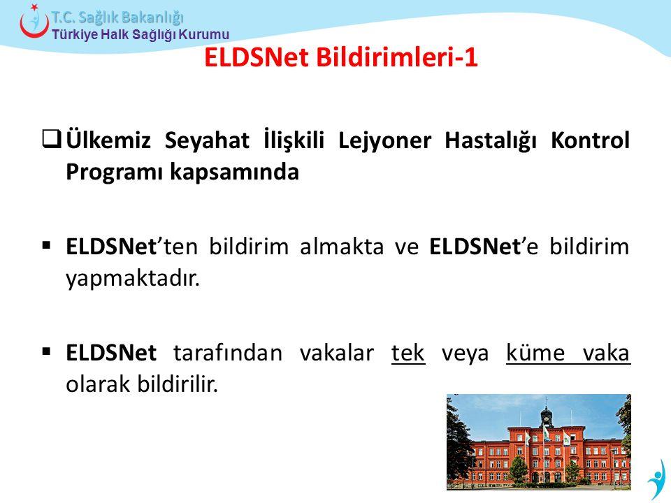Türkiye Halk Sağlığı Kurumu T.C. Sağlık Bakanlığı ELDSNet Bildirimleri-1  Ülkemiz Seyahat İlişkili Lejyoner Hastalığı Kontrol Programı kapsamında  E