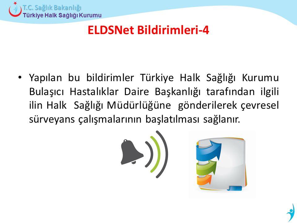 Türkiye Halk Sağlığı Kurumu T.C. Sağlık Bakanlığı ELDSNet Bildirimleri-4 Yapılan bu bildirimler Türkiye Halk Sağlığı Kurumu Bulaşıcı Hastalıklar Daire