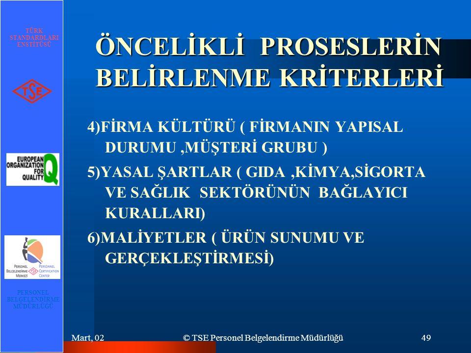 TÜRK STANDARDLARI ENSTİTÜSÜ PERSONEL BELGELENDİRME MÜDÜRLÜĞÜ Mart, 02© TSE Personel Belgelendirme Müdürlüğü49 ÖNCELİKLİ PROSESLERİN BELİRLENME KRİTERLERİ 4)FİRMA KÜLTÜRÜ ( FİRMANIN YAPISAL DURUMU,MÜŞTERİ GRUBU ) 5)YASAL ŞARTLAR ( GIDA,KİMYA,SİGORTA VE SAĞLIK SEKTÖRÜNÜN BAĞLAYICI KURALLARI) 6)MALİYETLER ( ÜRÜN SUNUMU VE GERÇEKLEŞTİRMESİ)