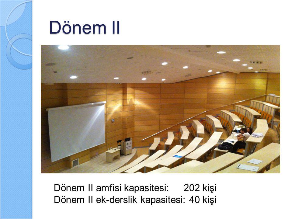 Dönem II Dönem II amfisi kapasitesi: 202 kişi Dönem II ek-derslik kapasitesi: 40 kişi