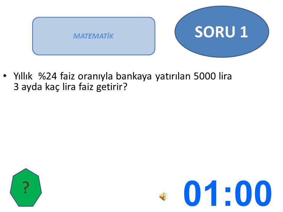 Yıllık %24 faiz oranıyla bankaya yatırılan 5000 lira 3 ayda kaç lira faiz getirir.