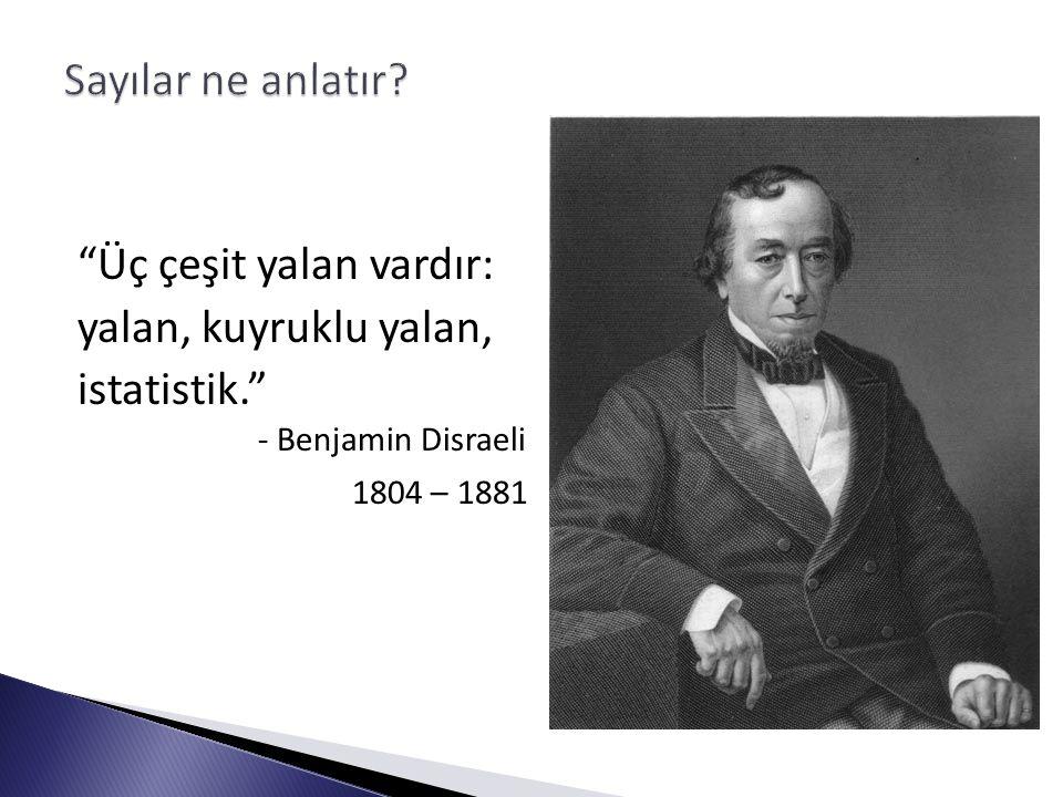 Üç çeşit yalan vardır: yalan, kuyruklu yalan, istatistik. - Benjamin Disraeli 1804 – 1881