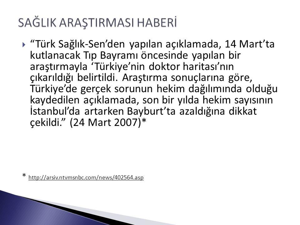  Türk Sağlık-Sen'den yapılan açıklamada, 14 Mart'ta kutlanacak Tıp Bayramı öncesinde yapılan bir araştırmayla 'Türkiye'nin doktor haritası'nın çıkarıldığı belirtildi.