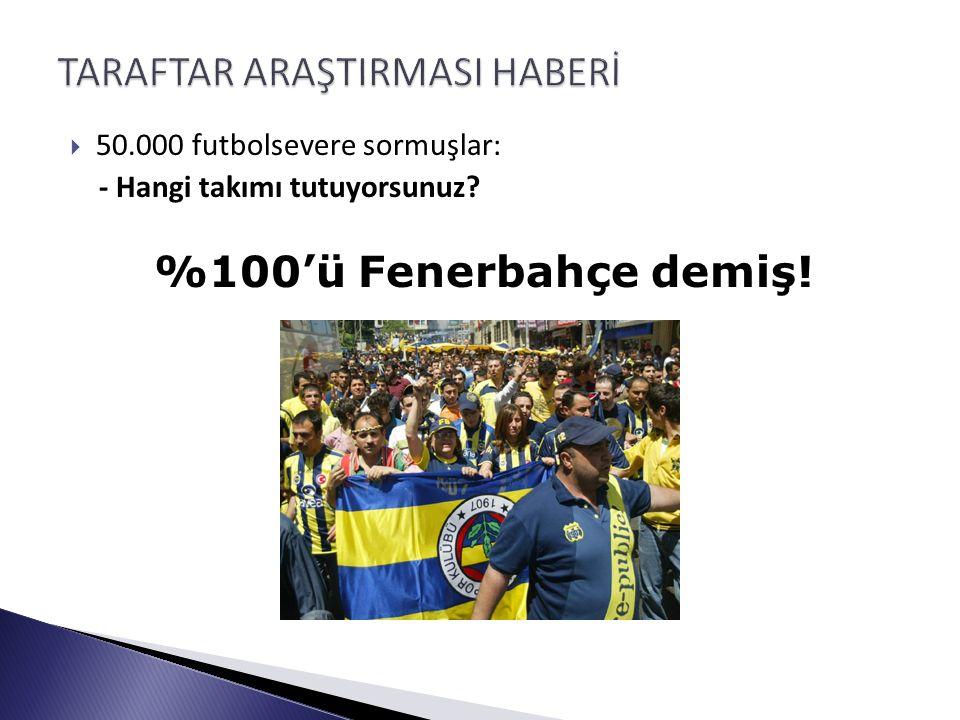  50.000 futbolsevere sormuşlar: - Hangi takımı tutuyorsunuz? %100'ü Fenerbahçe demiş!