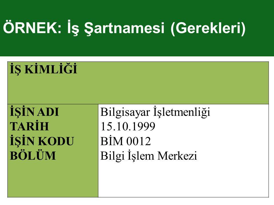 İŞ KİMLİĞİ İŞİN ADI TARİH İŞİN KODU BÖLÜM Bilgisayar İşletmenliği 15.10.1999 BİM 0012 Bilgi İşlem Merkezi ÖRNEK: İş Şartnamesi (Gerekleri)