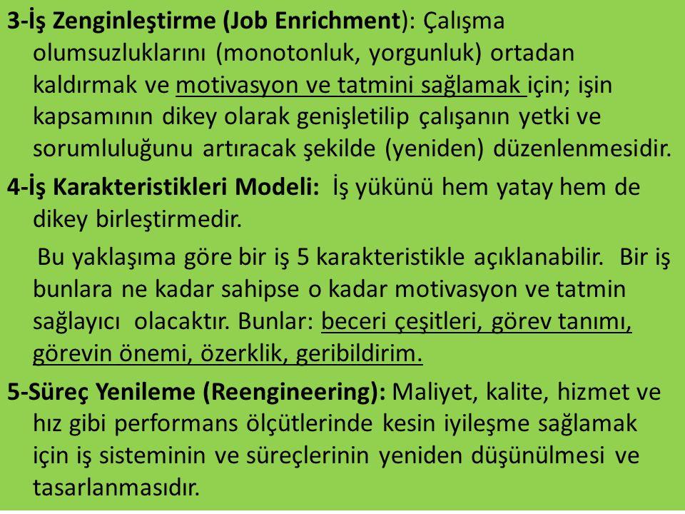 3-İş Zenginleştirme (Job Enrichment): Çalışma olumsuzluklarını (monotonluk, yorgunluk) ortadan kaldırmak ve motivasyon ve tatmini sağlamak için; işin