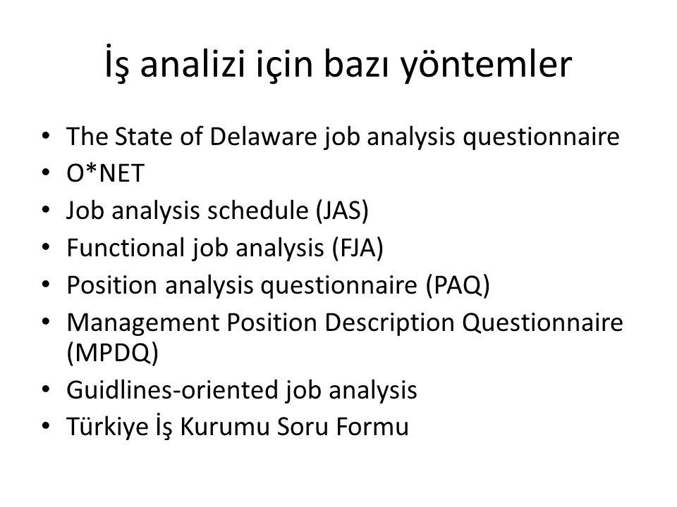 İş analizi için bazı yöntemler Management Position Description Questionnaire (MPDQ)