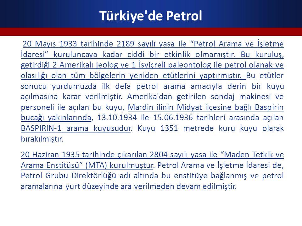 """Türkiye'de Petrol 20 Mayıs 1933 tarihinde 2189 sayılı yasa ile """"Petrol Arama ve İşletme İdaresi"""" kuruluncaya kadar ciddi bir etkinlik olmamıştır. Bu k"""