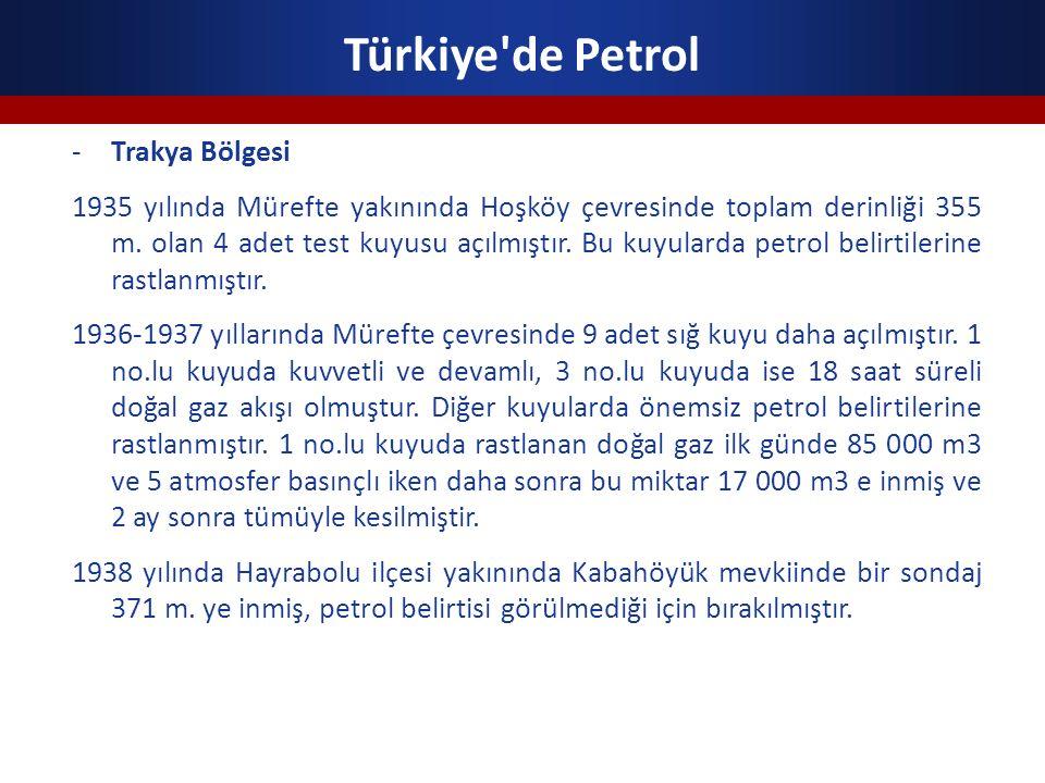 Türkiye'de Petrol -Trakya Bölgesi 1935 yılında Mürefte yakınında Hoşköy çevresinde toplam derinliği 355 m. olan 4 adet test kuyusu açılmıştır. Bu kuyu