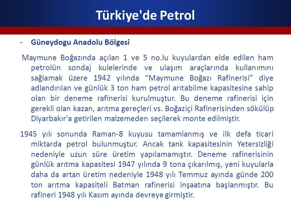 Türkiye'de Petrol -Güneydogu Anadolu Bölgesi Maymune Boğazında açılan 1 ve 5 no.lu kuyulardan elde edilen ham petrolün sondaj kulelerinde ve ulaşım ar