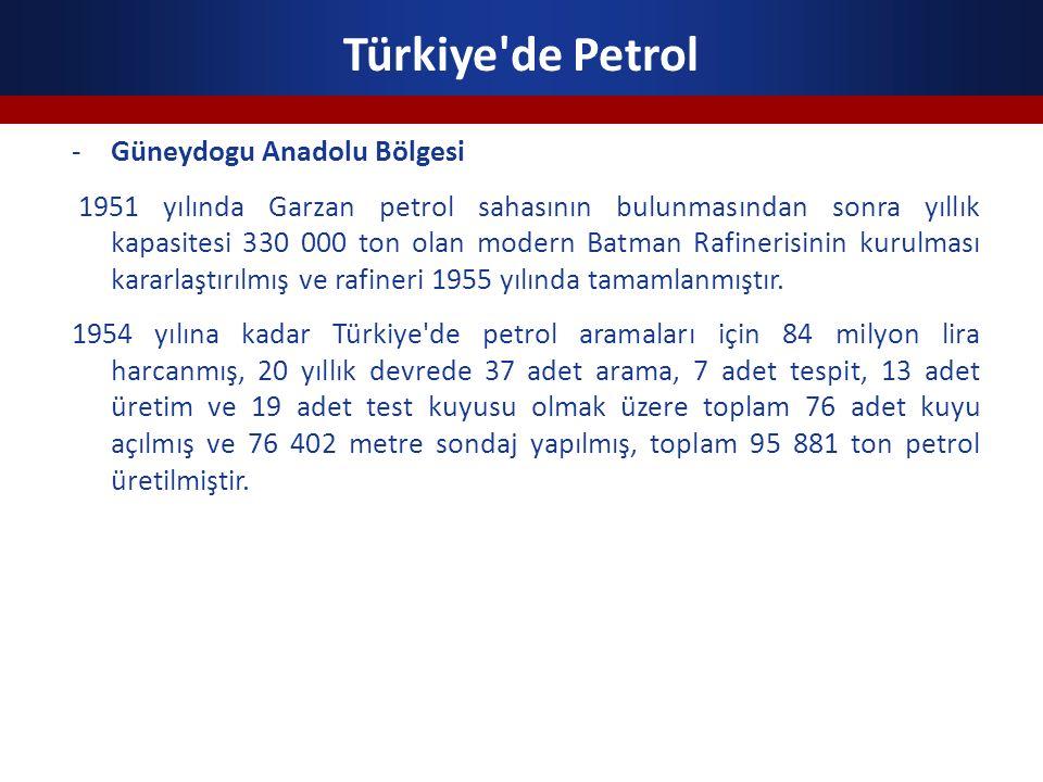 Türkiye'de Petrol -Güneydogu Anadolu Bölgesi 1951 yılında Garzan petrol sahasının bulunmasından sonra yıllık kapasitesi 330 000 ton olan modern Batman