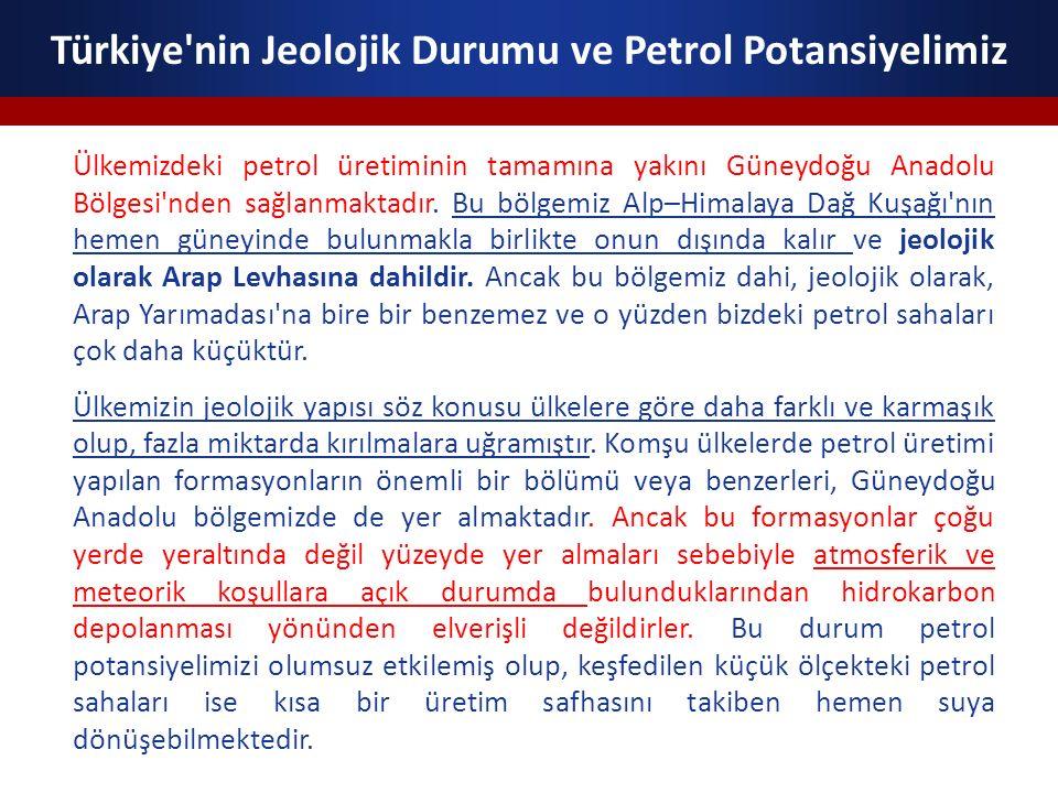 Türkiye nin Jeolojik Durumu ve Petrol Potansiyelimiz Güneydoğu Anadolu Bölgesi ndeki yeni ve daha derin rezervlerin arama çalışmaları devam etmektedir.