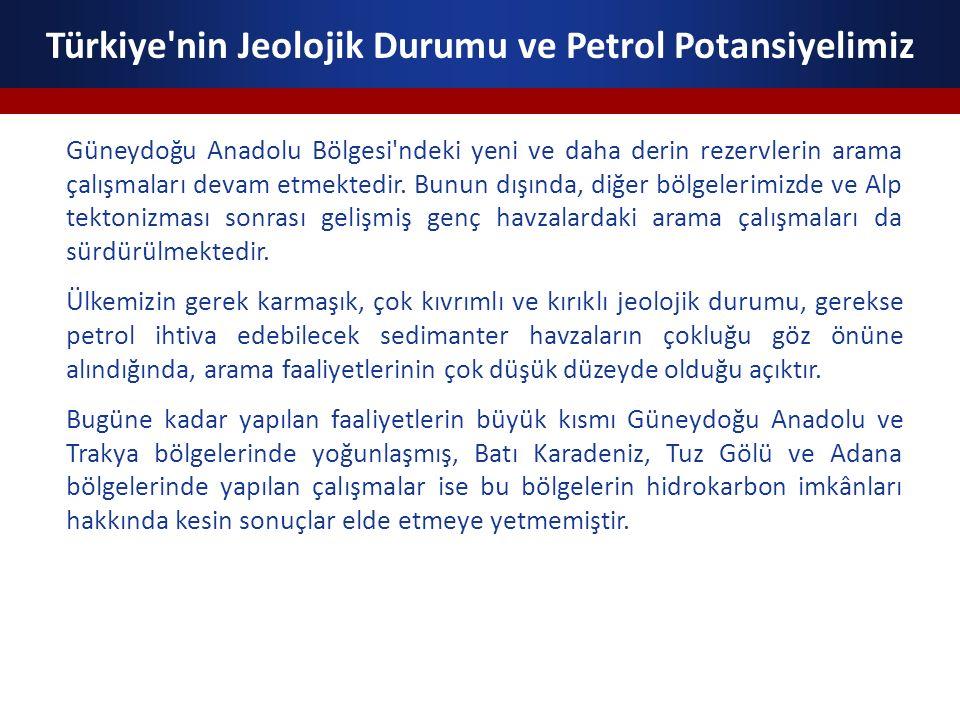 Türkiye nin Jeolojik Durumu ve Petrol Potansiyelimiz Türkiye de diğer havzalarda yapılan çalışmalar ise yok denecek derecede az veya hiç yoktur.