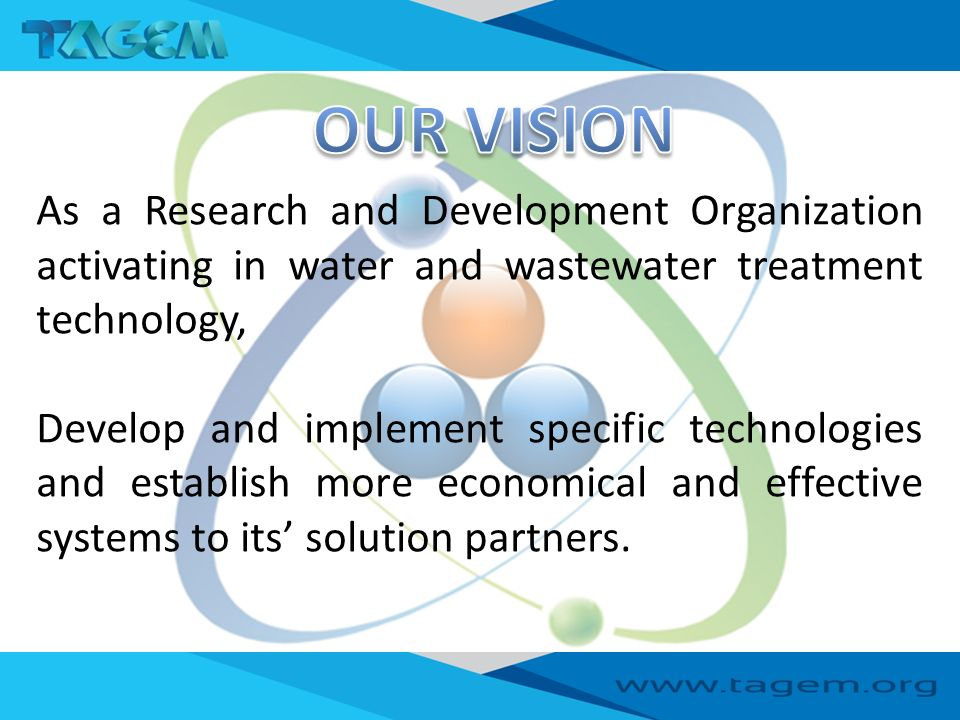 As a Research and Development Organization activating in water and wastewater treatment technology, Develop and implement specific technologies and establish more economical and effective systems to its' solution partners.