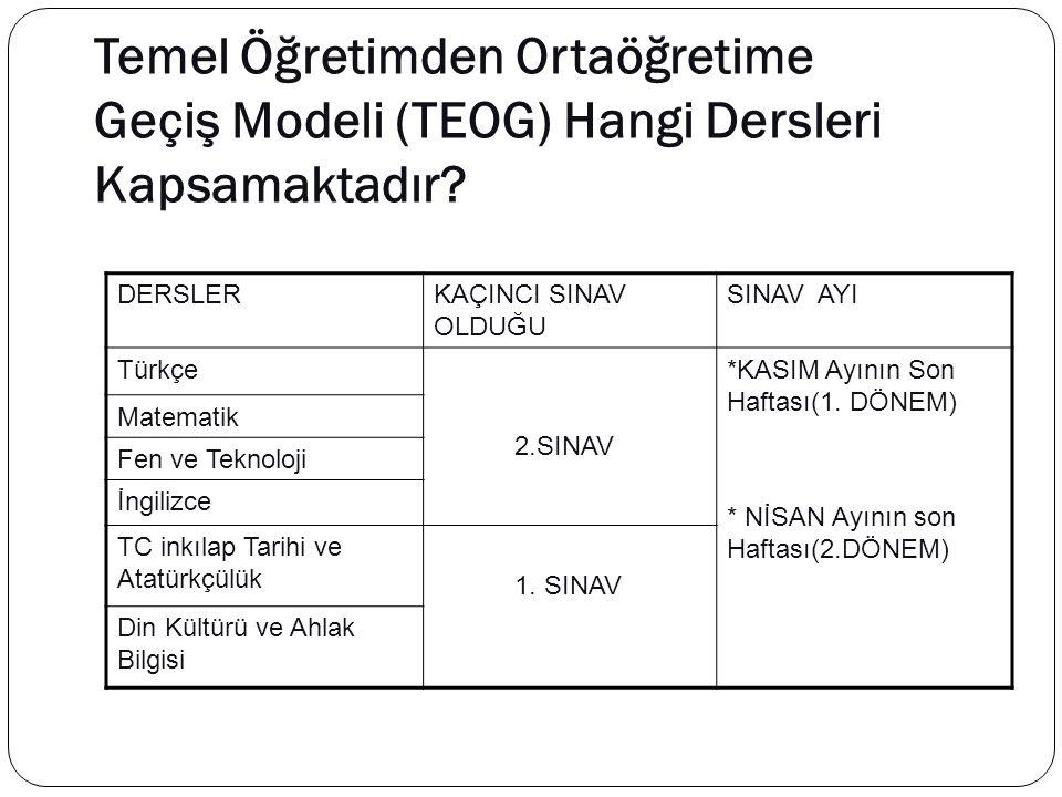 ORTAK SINAV UYGULAMA TAKVİMİ SınıfDönemSınav TarihleriMazeret Sınavı Tarihleri 8.