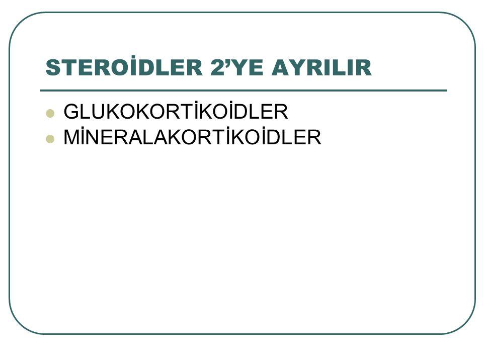 STEROİDLER 2'YE AYRILIR GLUKOKORTİKOİDLER MİNERALAKORTİKOİDLER