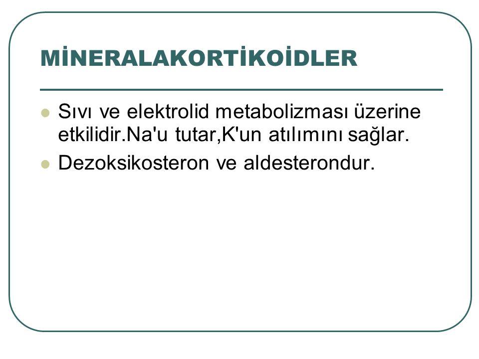 Sıvı ve elektrolid metabolizması üzerine etkilidir.Na'u tutar,K'un atılımını sağlar. Dezoksikosteron ve aldesterondur.