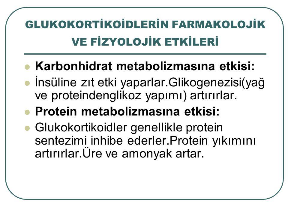 GLUKOKORTİKOİDLERİN FARMAKOLOJİK VE FİZYOLOJİK ETKİLERİ Karbonhidrat metabolizmasına etkisi: İnsüline zıt etki yaparlar.Glikogenezisi(yağ ve proteinde