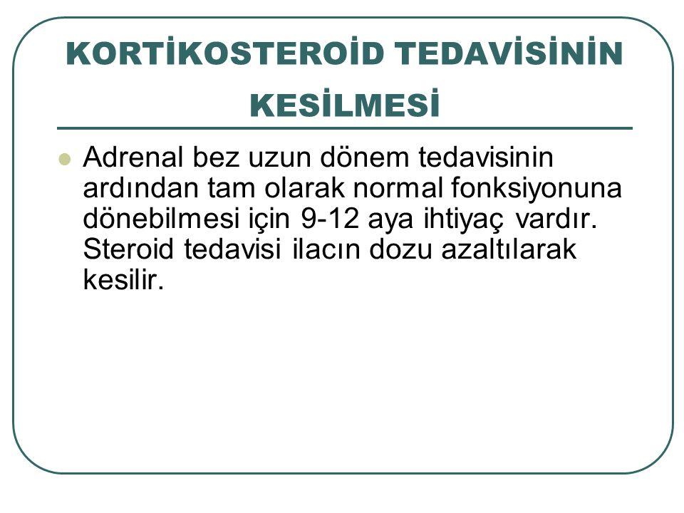 KORTİKOSTEROİD TEDAVİSİNİN KESİLMESİ Adrenal bez uzun dönem tedavisinin ardından tam olarak normal fonksiyonuna dönebilmesi için 9-12 aya ihtiyaç vard