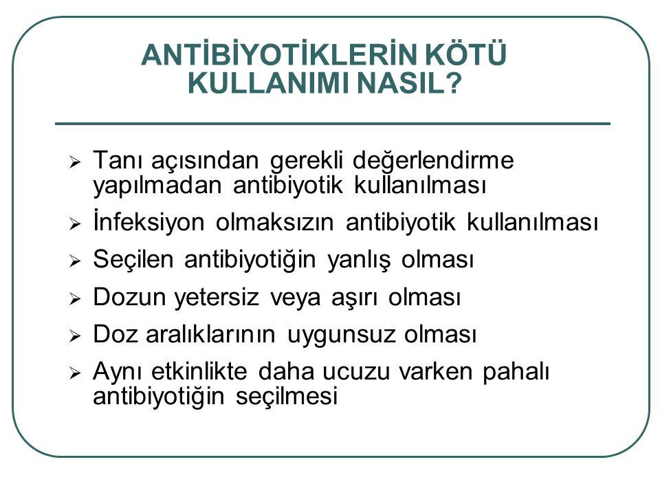 Tanı açısından gerekli değerlendirme yapılmadan antibiyotik kullanılması  İnfeksiyon olmaksızın antibiyotik kullanılması  Seçilen antibiyotiğin ya