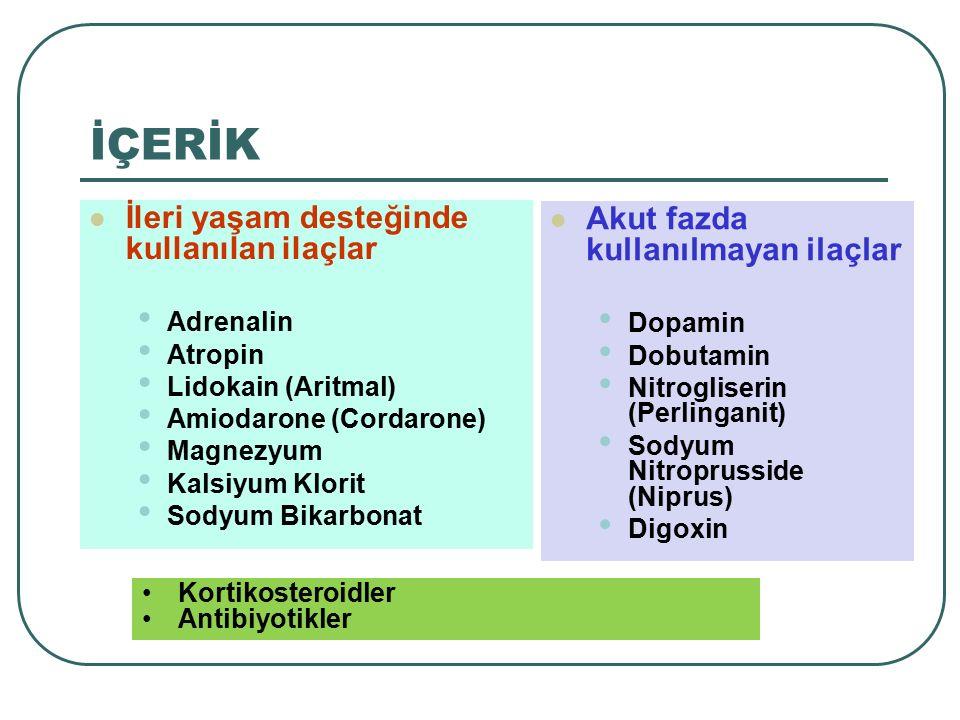 İÇERİK İleri yaşam desteğinde kullanılan ilaçlar Adrenalin Atropin Lidokain (Aritmal) Amiodarone (Cordarone) Magnezyum Kalsiyum Klorit Sodyum Bikarb