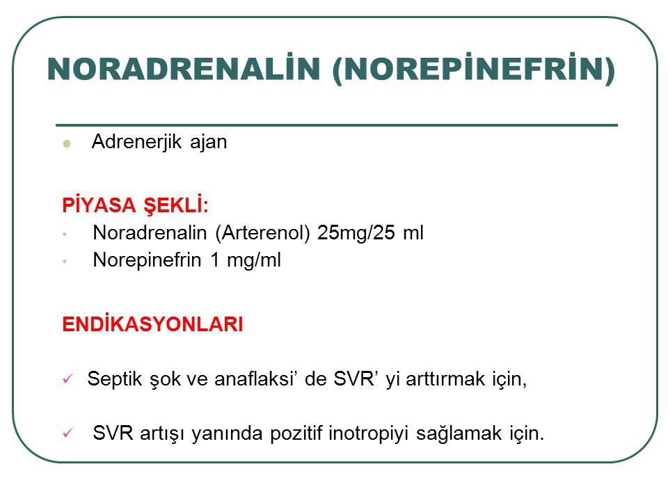 NORADRENALİN (NOREPİNEFRİN) Adrenerjik ajan PİYASA ŞEKLİ: Noradrenalin (Arterenol) 25mg/25 ml Norepinefrin 1 mg/ml ENDİKASYONLARI Septik şok ve anafla