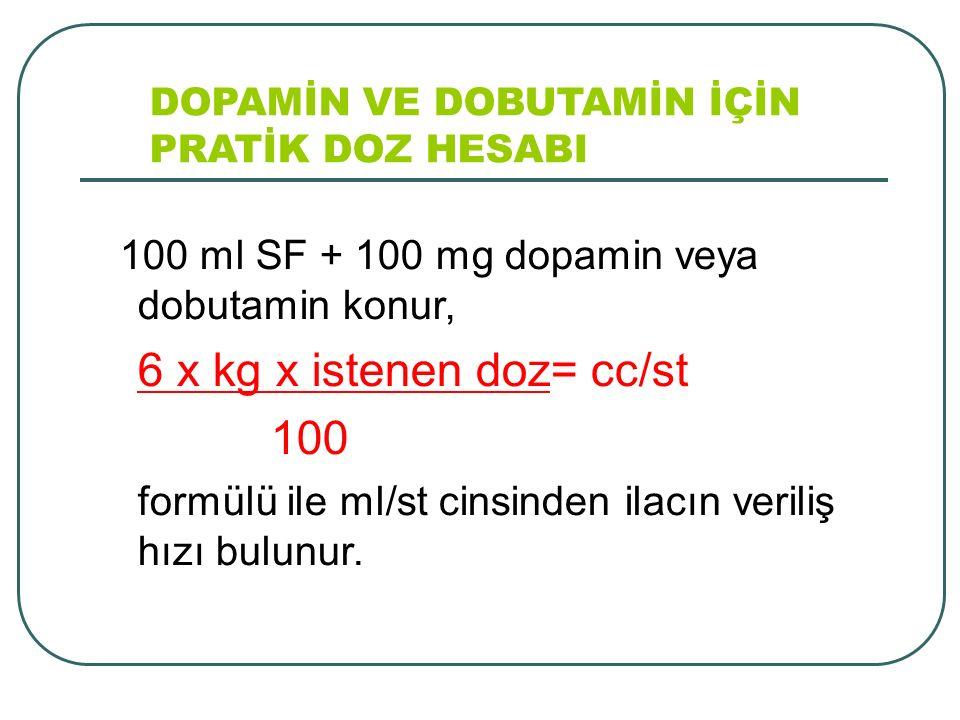 DOPAMİN VE DOBUTAMİN İÇİN PRATİK DOZ HESABI 100 ml SF + 100 mg dopamin veya dobutamin konur, 6 x kg x istenen doz= cc/st 100 formülü ile ml/st cinsind