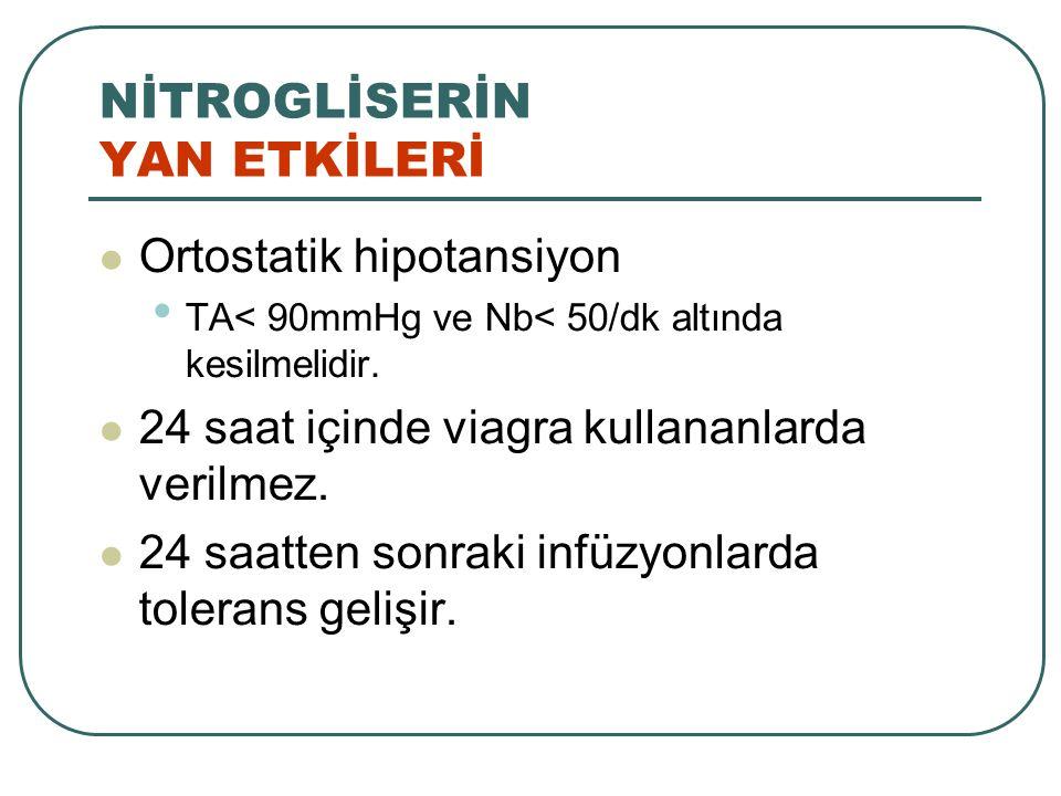NİTROGLİSERİN YAN ETKİLERİ Ortostatik hipotansiyon TA< 90mmHg ve Nb< 50/dk altında kesilmelidir. 24 saat içinde viagra kullananlarda verilmez. 24 saat