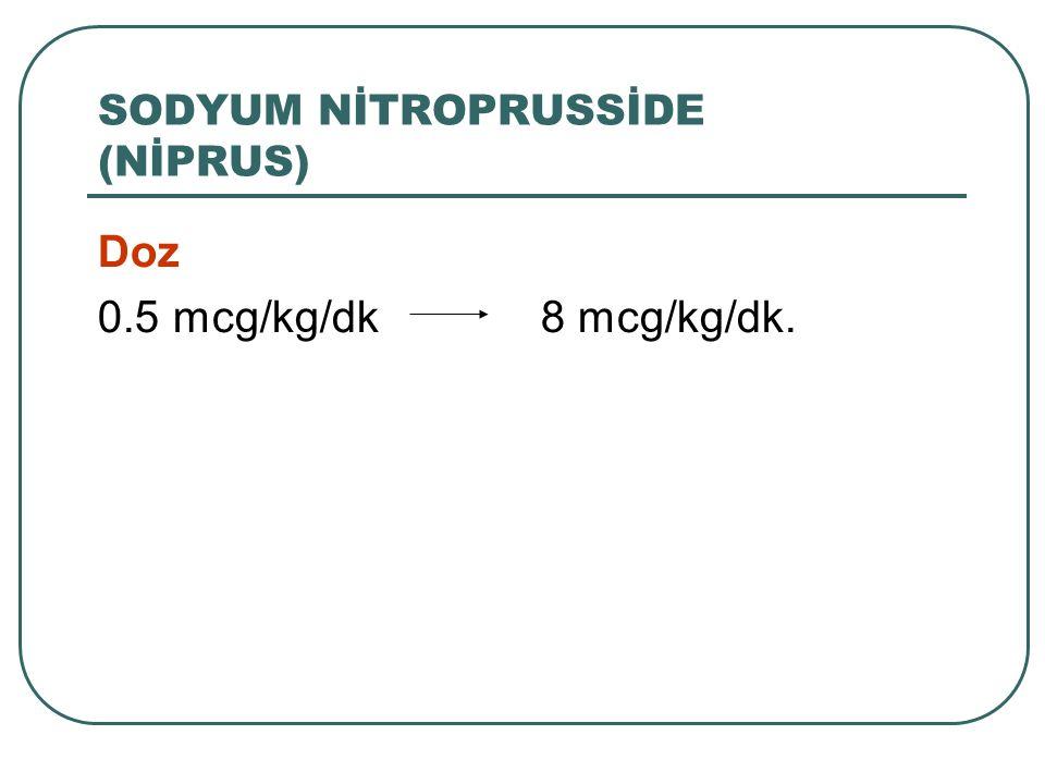 Doz 0.5 mcg/kg/dk 8 mcg/kg/dk. SODYUM NİTROPRUSSİDE (NİPRUS)