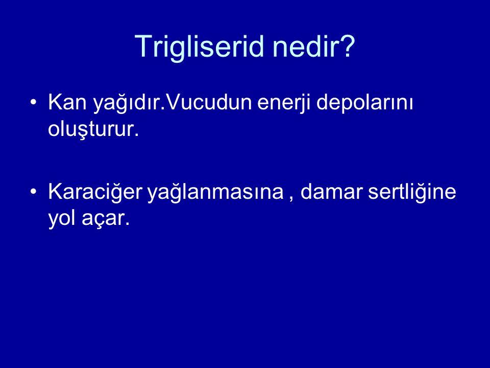 Trigliserid nedir? Kan yağıdır.Vucudun enerji depolarını oluşturur. Karaciğer yağlanmasına, damar sertliğine yol açar.