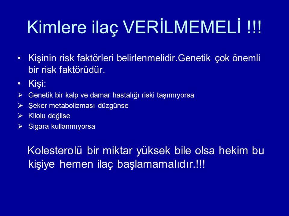 Kimlere ilaç VERİLMEMELİ !!! Kişinin risk faktörleri belirlenmelidir.Genetik çok önemli bir risk faktörüdür. Kişi:  Genetik bir kalp ve damar hastalı