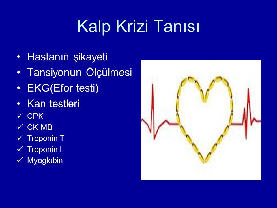 Kalp Krizi Tanısı Hastanın şikayeti Tansiyonun Ölçülmesi EKG(Efor testi) Kan testleri CPK CK-MB Troponin T Troponin I Myoglobin
