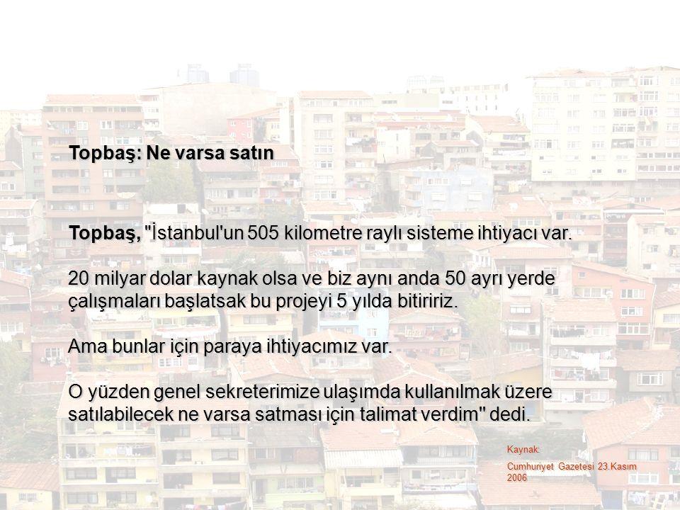 Topbaş, İstanbul un 505 kilometre raylı sisteme ihtiyacı var.