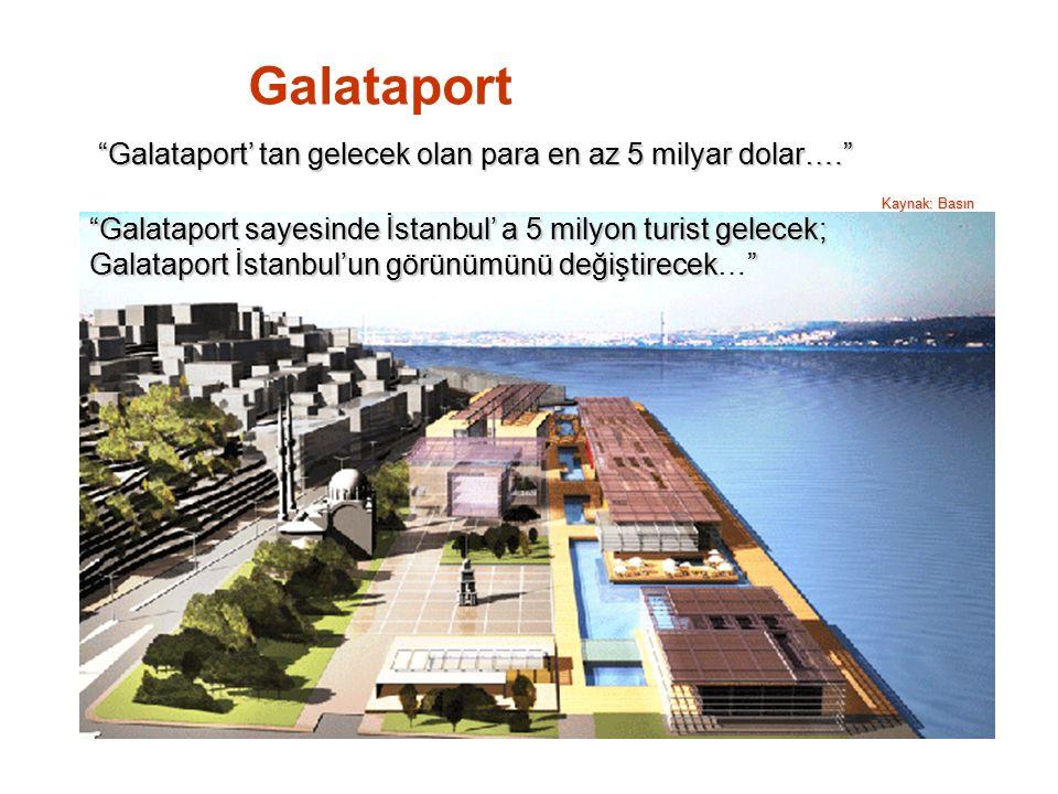 Galataport' tan gelecek olan para en az 5 milyar dolar…. Kaynak: Basın Galataport sayesinde İstanbul' a 5 milyon turist gelecek; Galataport İstanbul'un görünümünü değiştirecek Galataport İstanbul'un görünümünü değiştirecek… Galataport