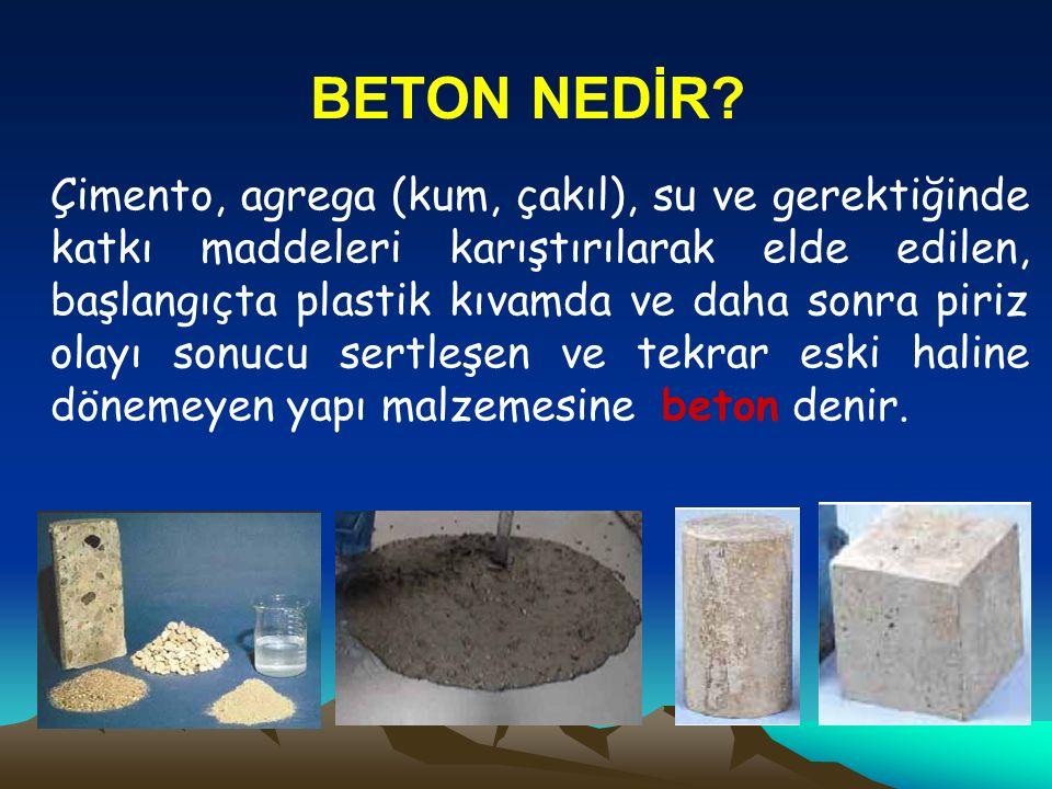 BETON NEDİR? Çimento, agrega (kum, çakıl), su ve gerektiğinde katkı maddeleri karıştırılarak elde edilen, başlangıçta plastik kıvamda ve daha sonra pi