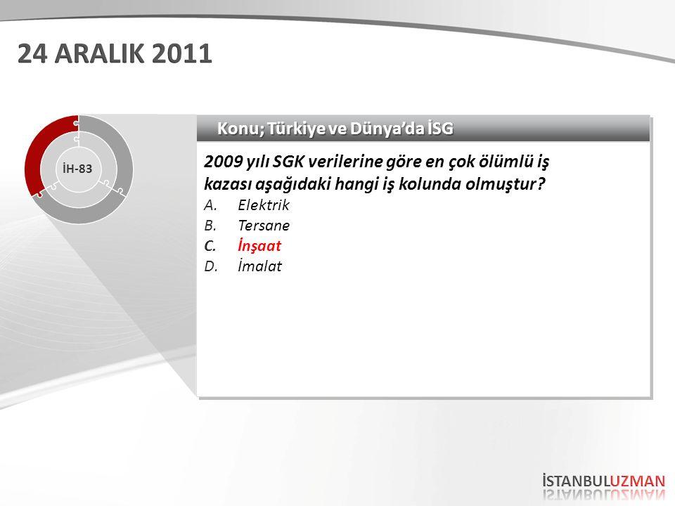 Konu; Türkiye ve Dünya'da İSG 2009 yılı SGK verilerine göre en çok ölümlü iş kazası aşağıdaki hangi iş kolunda olmuştur.