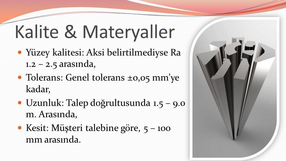 Kalite & Materyaller Yüzey kalitesi: Aksi belirtilmediyse Ra 1.2 – 2.5 arasında, Tolerans: Genel tolerans ±0,05 mm'ye kadar, Uzunluk: Talep doğrultusunda 1.5 – 9.0 m.