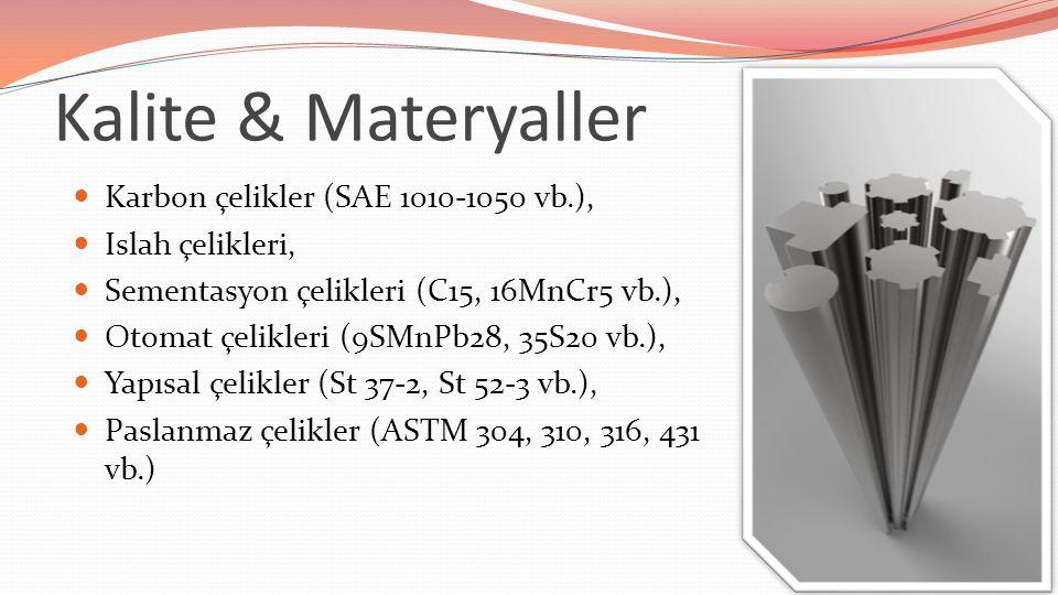 Kalite & Materyaller Karbon çelikler (SAE 1010-1050 vb.), Islah çelikleri, Sementasyon çelikleri (C15, 16MnCr5 vb.), Otomat çelikleri (9SMnPb28, 35S20 vb.), Yapısal çelikler (St 37-2, St 52-3 vb.), Paslanmaz çelikler (ASTM 304, 310, 316, 431 vb.)
