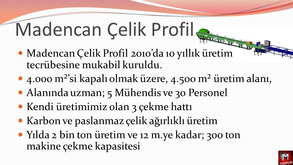 Madencan Çelik Profil 2010'da 10 yıllık üretim tecrübesine mukabil kuruldu.