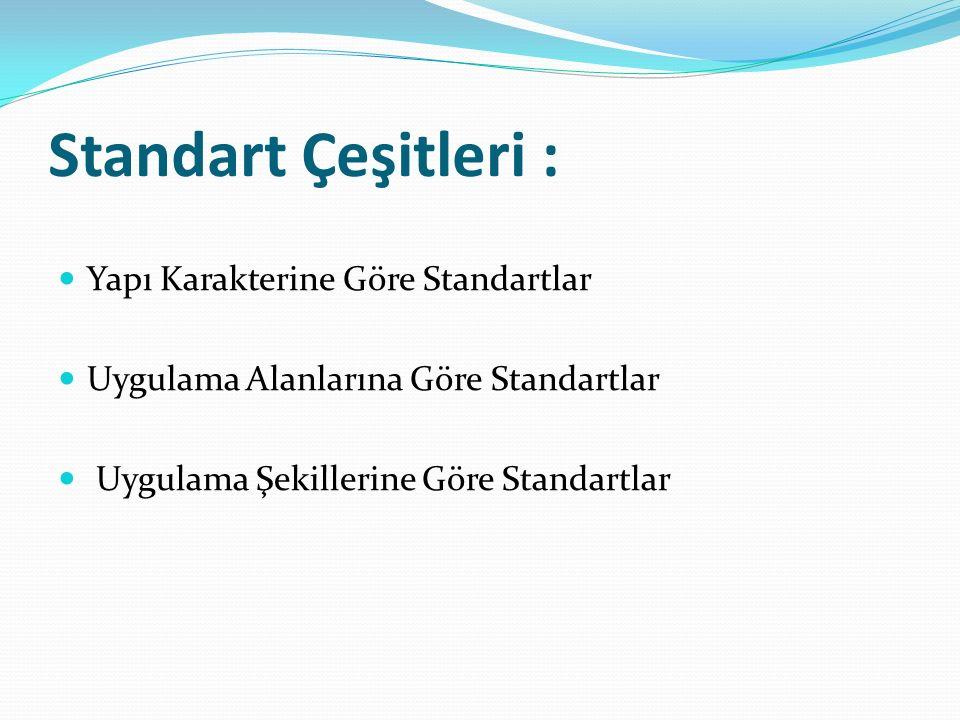 Standart Çeşitleri : Yapı Karakterine Göre Standartlar Uygulama Alanlarına Göre Standartlar Uygulama Şekillerine Göre Standartlar