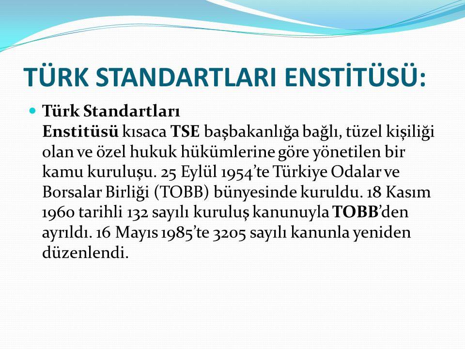 TÜRK STANDARTLARI ENSTİTÜSÜ: Türk Standartları Enstitüsü kısaca TSE başbakanlığa bağlı, tüzel kişiliği olan ve özel hukuk hükümlerine göre yönetilen b
