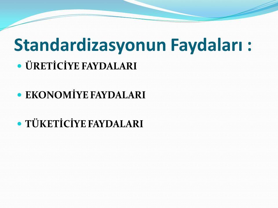 Standardizasyonun Faydaları : ÜRETİCİYE FAYDALARI EKONOMİYE FAYDALARI TÜKETİCİYE FAYDALARI