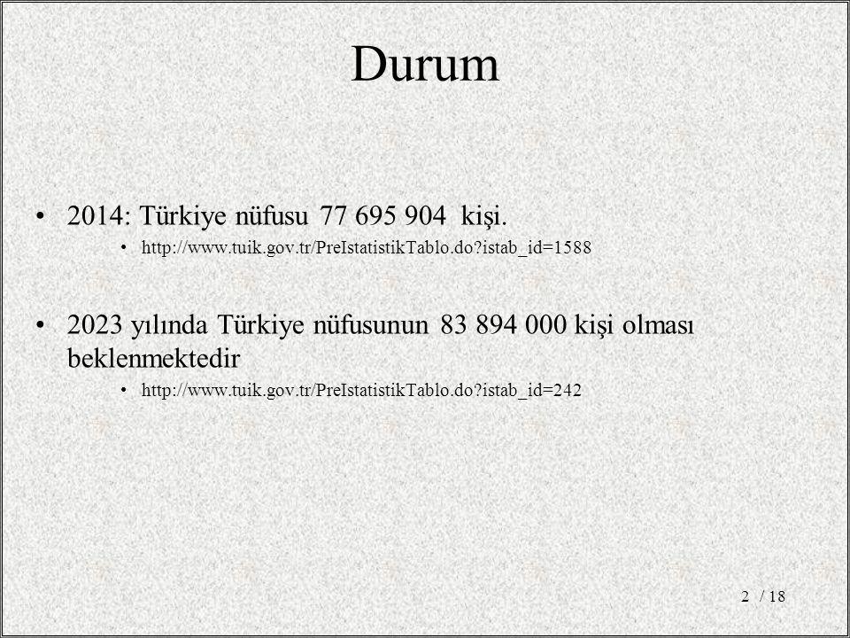 / 182 Durum 2014: Türkiye nüfusu 77 695 904 kişi. http://www.tuik.gov.tr/PreIstatistikTablo.do?istab_id=1588 2023 yılında Türkiye nüfusunun 83 894 000