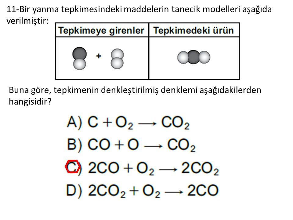 11-Bir yanma tepkimesindeki maddelerin tanecik modelleri aşağıda verilmiştir: Buna göre, tepkimenin denkleştirilmiş denklemi aşağıdakilerden hangisidir