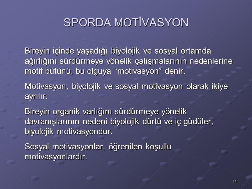 11 SPORDA MOTİVASYON Bireyin içinde yaşadığı biyolojik ve sosyal ortamda ağırlığını sürdürmeye yönelik çalışmalarının nedenlerine motif bütünü, bu olguya motivasyon denir.