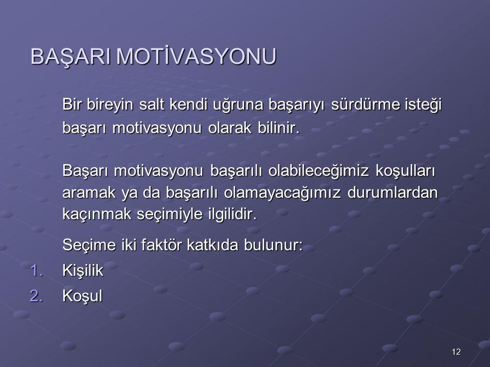 12 BAŞARI MOTİVASYONU Bir bireyin salt kendi uğruna başarıyı sürdürme isteği başarı motivasyonu olarak bilinir.