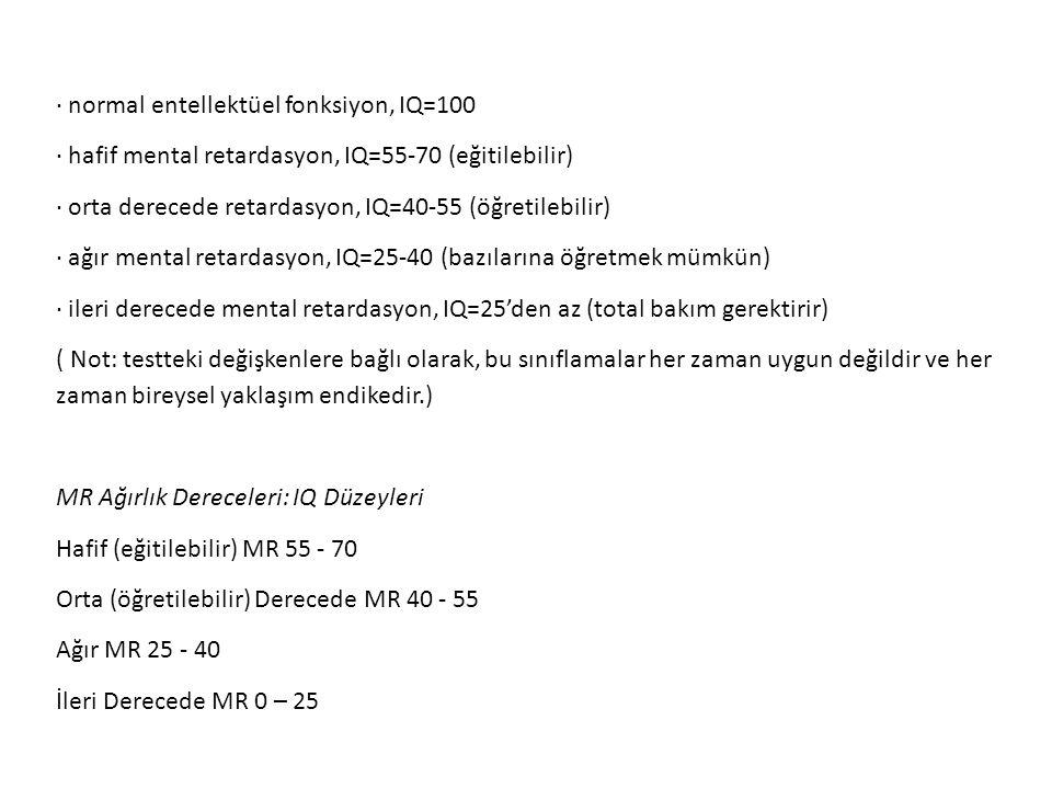 · normal entellektüel fonksiyon, IQ=100 · hafif mental retardasyon, IQ=55-70 (eğitilebilir) · orta derecede retardasyon, IQ=40-55 (öğretilebilir) · ağ