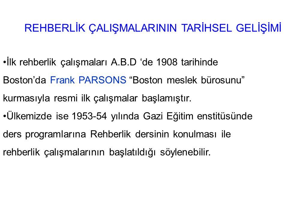 REHBERLİK ÇALIŞMALARININ TARİHSEL GELİŞİMİ İlk rehberlik çalışmaları A.B.D 'de 1908 tarihinde Boston'da Frank PARSONS Boston meslek bürosunu kurmasıyla resmi ilk çalışmalar başlamıştır.