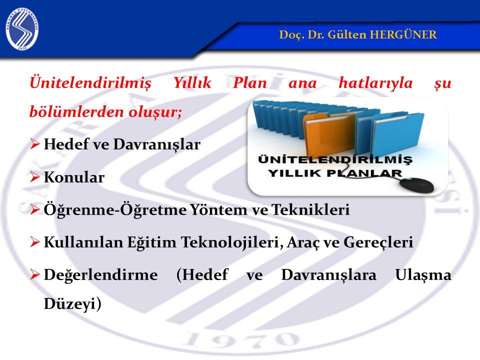 Ünitelendirilmiş Yıllık Plan ana hatlarıyla şu bölümlerden oluşur;  Hedef ve Davranışlar  Konular  Öğrenme-Öğretme Yöntem ve Teknikleri  Kullanıla